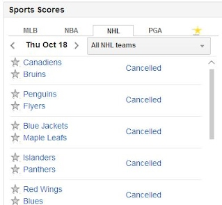 Hockey schedule with all games cancelled.